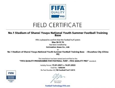 Chứng chỉ FIFA Quality Pro sân bóng Dalian
